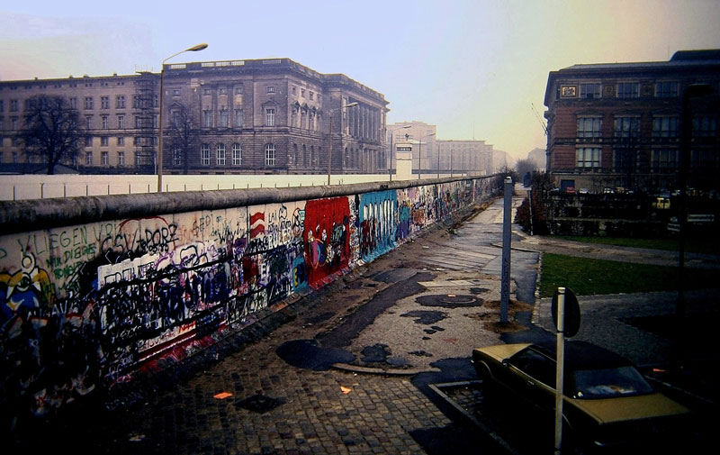 A view of the Berlin Wall, as seen from West Berlin.