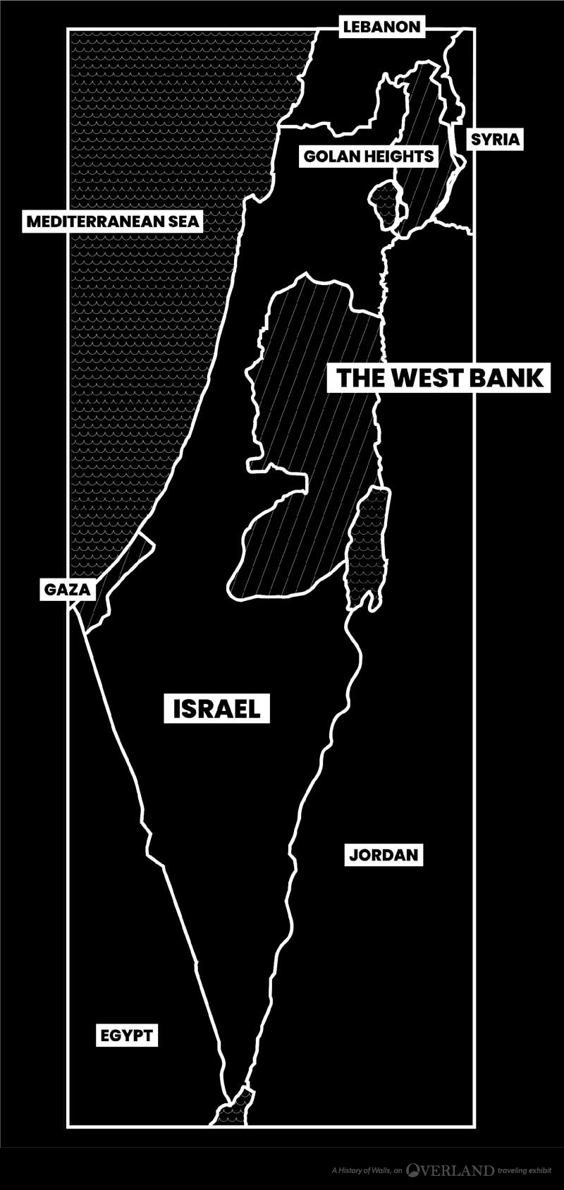 A simple black and white map showing the West Bank in relation to Israel and surrounding countries.