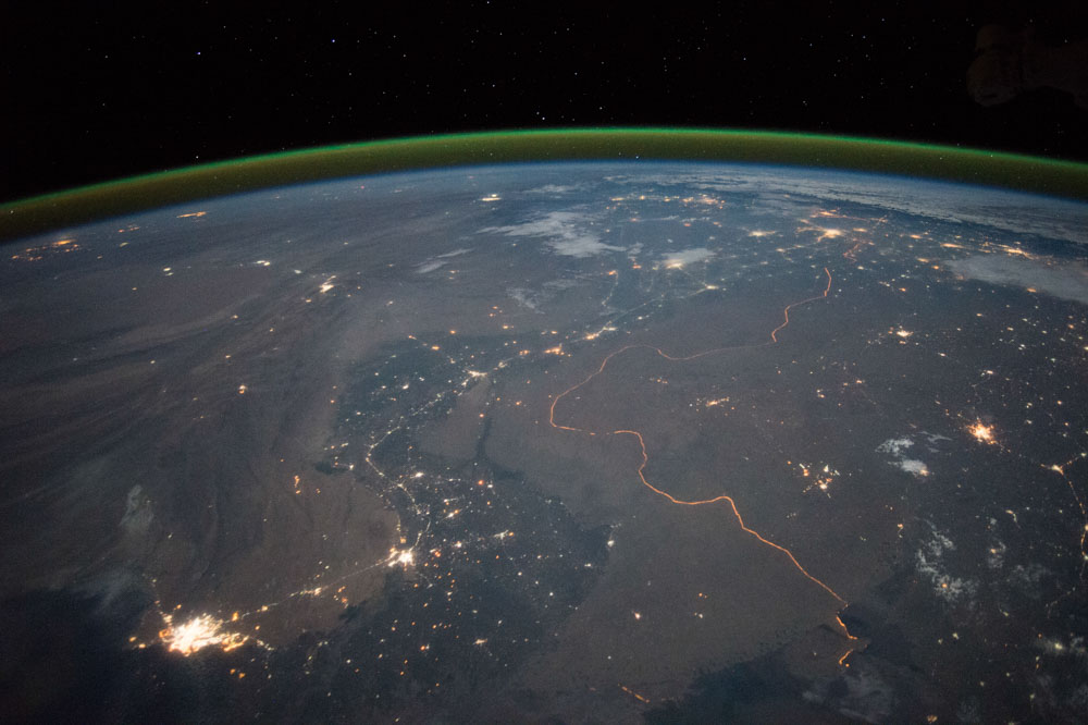 A view of Earth from the International Space Station. THe border of Pakistan and India is illuminated.